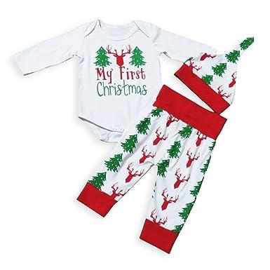 448b551e58b2 Newborn Baby Boy Girl 3PCS Christmas Clothes Set Bodysuit+P ants+Hat Infant  Outfits