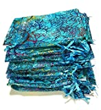 Giveet 100 Pieces Coralline Blue Organza Gift Bags, Drawstring Pouches Jewelry bags, Candy Pouch Chocolate Pouch Party Wedding Favor Gift Bag, 4.7 x 3.5 Inches