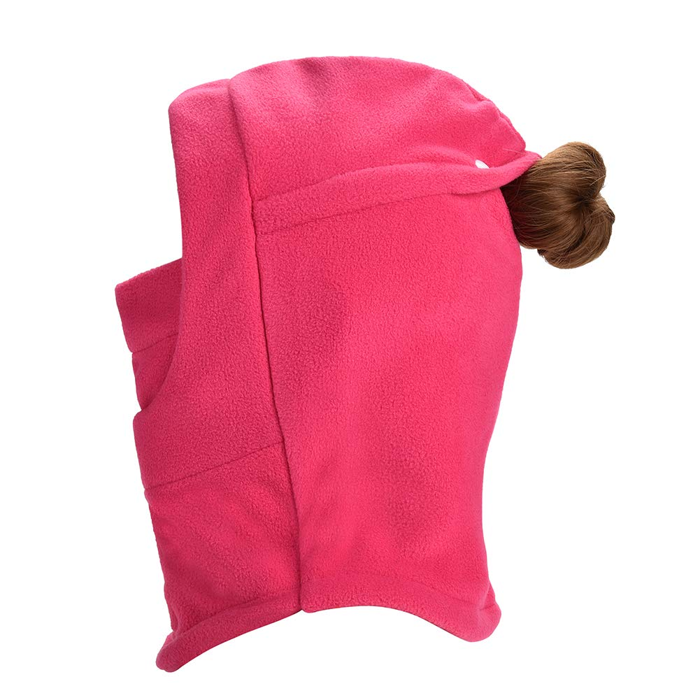 HZTG Kids Girls Winter Thick Windproof Face Cover Hat Riding Ski Balaclava Mask with Ponytail Hole