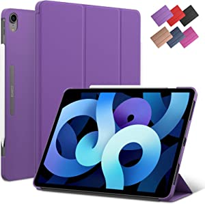 iPad Air 4 10.9-inch case, ROARTZ Purple Slim Fit Smart Rubber Coated Folio Case Hard Cover Light-Weight Wake/Sleep for Apple iPad Air 4th Generation 2020 Lastest Model