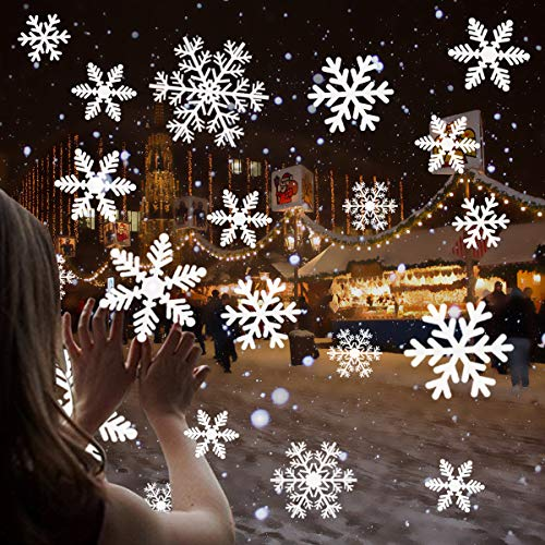 Sunm boutique Christmas Snowflake Window Clings Decal Wall Stickers Christmas Decorations Removable Art Decor DIY Christmas Snowflake Wall Decal for $<!--$10.51-->