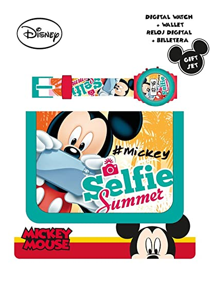 Kids Euroswan Set Regalo con Reloj Digital y Billetera Modelo Mickey Mouse, Compuesto, 25x7x20