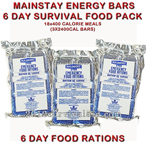 Mainstay Emergency Food 2400-cal Bars (Pack of 3) 6 Day Rations (18 Servings 3x400cal/per/day)