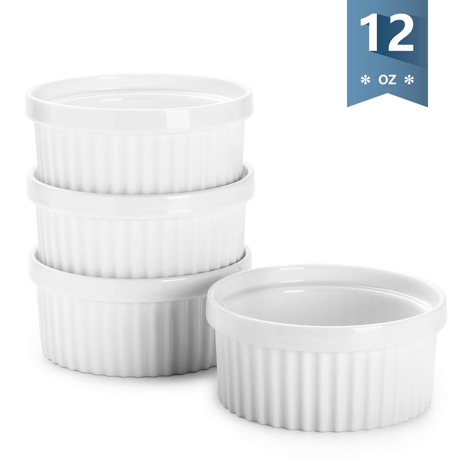 Sweese 503.101 Porcelain Ramekins for Baking - 12 Ounce Souffle Dish - Set of 4, White by Sweese