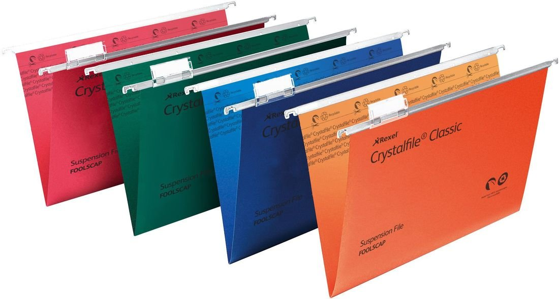 Rexel Crystalfile Classic 15mm Foolscap Suspension File - Assorted Colours