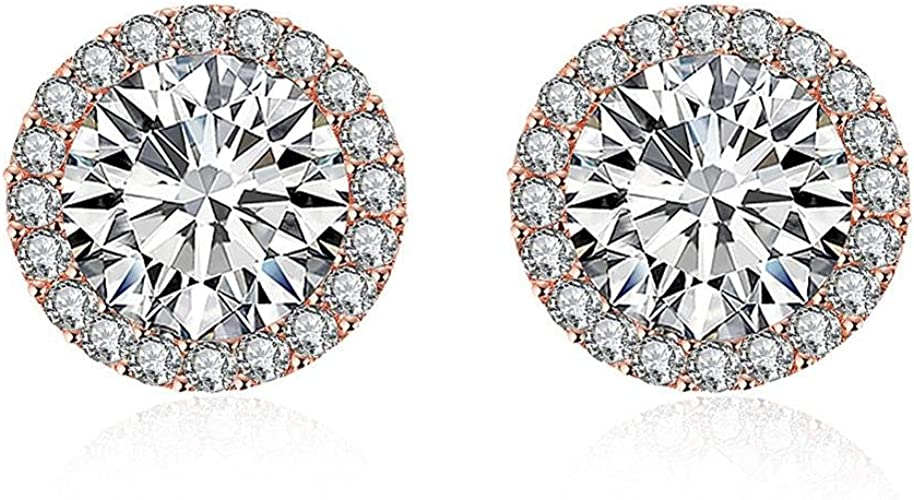 Lunaori White and Rose Gold Plated Cubic Zirconia Round 1ct Round Stud Earrings For Women
