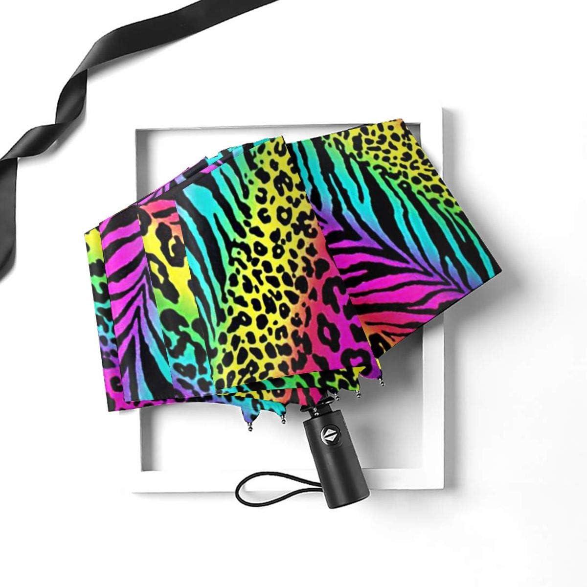 Striped Neon Rainbow Zebra Automatic Open Folding Compact Travel Umbrellas For Women