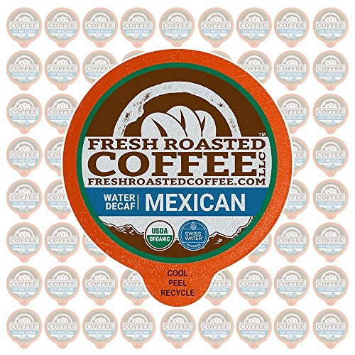 Fresh Roasted Coffee LLC, Swiss Water Decaf Organic Mexican Coffee Pods, Medium Roast, Single Origin, USDA Organic, Capsules Compatible with 1.0 & 2.0 Single-Serve Brewers, 72 Count