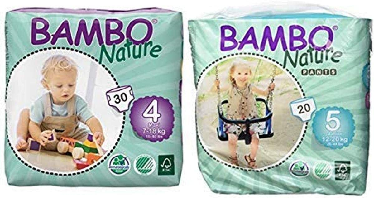 Bambo Nature Eco Friendly Baby Diapers Classic for Sensitive Skin, Size 4 (15-40 lbs), 30 Count and Nature Eco Friendly Baby Training Pants Classic for Sensitive Skin, Size 5 (26-44 lbs), 20 Count