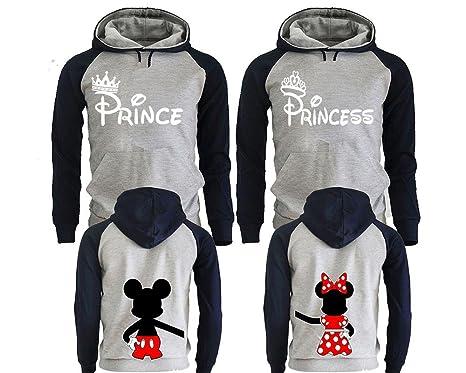14aa81e8b9 Prince Princess Disney Couple Hoodies, Matching Couple Hoodies, His And Her  Sweatshirts, King