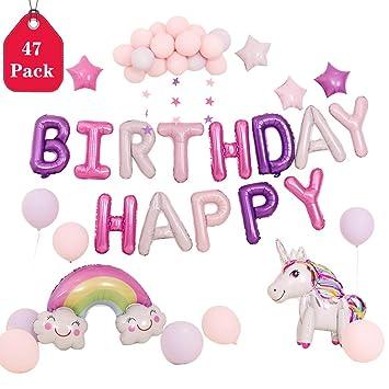 Amycute 47 PCS Globos Unicornio Cumpleaños, Decoración ...