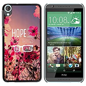 Paccase / SLIM PC / Aliminium Casa Carcasa Funda Case Cover para - Hope Floral Summer Field Message Flowers - HTC Desire 820