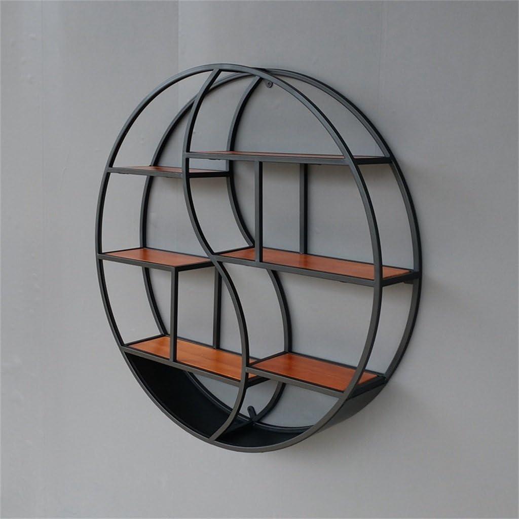 Rundes Wandregal-Metalleisen-Holz f/ür Bar-Wohnzimmer LOFT-Wand-h/ängendes W/ürfel-Regal f/ür Schlafzimmer als B/ücherregal-Lagerregal-Weinlese-industrielle Art Haltbar gr/ö/ße : 80cm*25cm*80cm