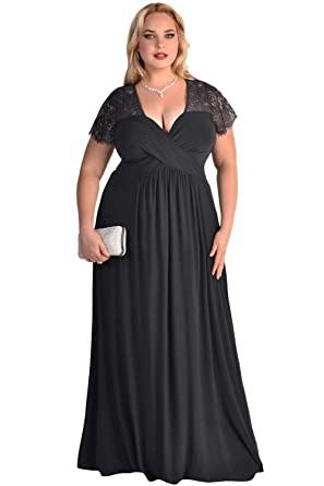 Plus Size Black Eyelash Lace Long Maxi Dress Prom Funeral Formal ...