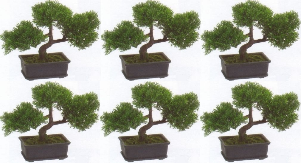 6 Artificial 9'' Cedar Bonsai Tree Topiary In Outdoor Plant Pool Patio Home Decor