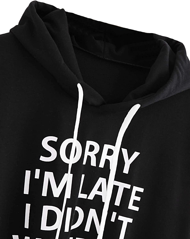 SweatyRocks Sweatshirt Womens Pullover Sweatshirt Letter Print Hoodie Black #8 XL