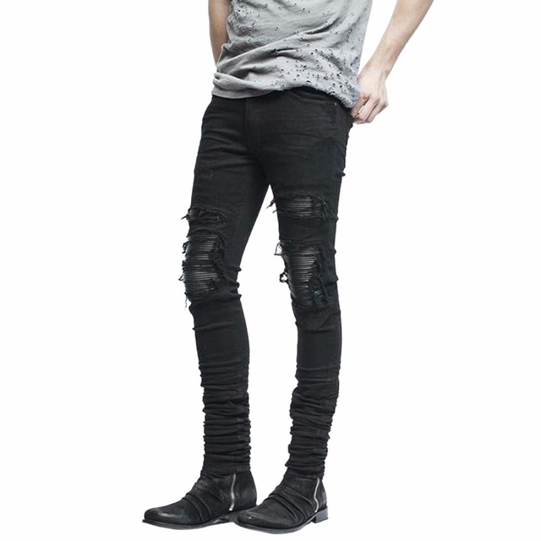 Men's Stretchy Ripped Skinny Biker Jeans Destroyed Taped Slim Fit Denim Pants (32, Black)