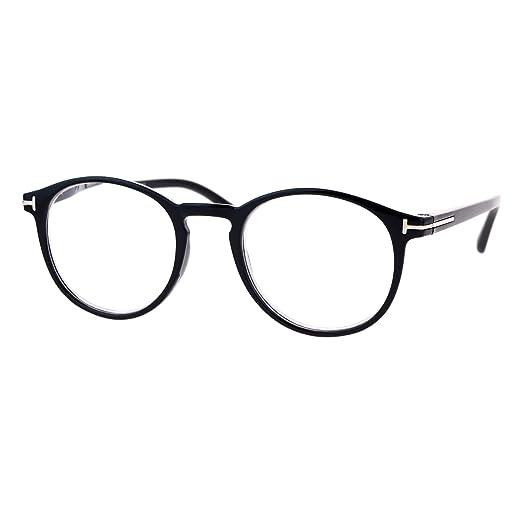 6757f4aeb69f Retro Round Keyhole Thin Horn Rim Plastic Reading Glasses Black +1.0