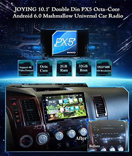 JOYING Car Stereo 10 1 inch PX5 Octa-core 2GB Ram 32GB Rom Double Din  Universal Car Radio Android 6 0 GPS Navigation with iPhone Zlink & Screen