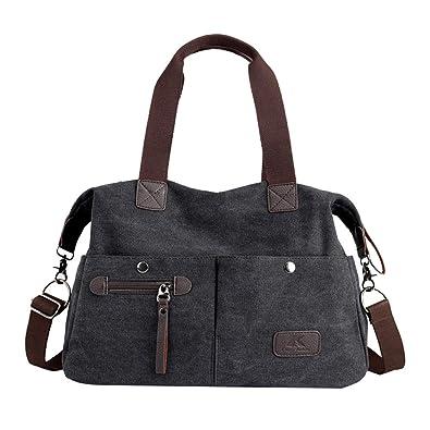 7c27eb080 Amazon.com: Lonson Unisex Large Capacity Multiple-pockets Shoulder Bag with  Removable Strap Black One Size: Shoes