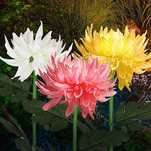 3 Pack Waterproof Chrysanthemum Flowers Lights,Outdoor Solar Garden Stake Lights, Solar Garden Lights,Landscape Pathway Light for Patio Yard Walkway (Yellow, Red, White)
