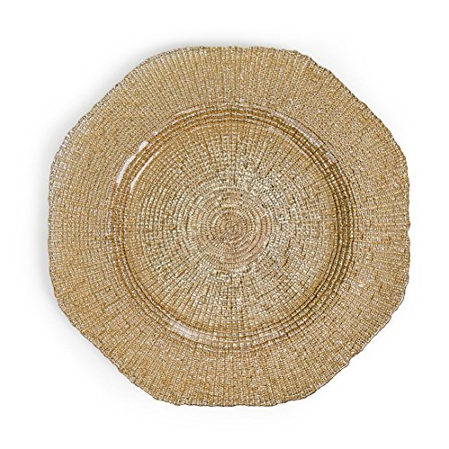 LinenTablecloth Champagne Mosaic Glass Charger Plate 4/Pack