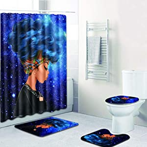 EVERMARKET Creative Colorful Printing Toilet Pad Cover Bath Mat Shower Curtain Set for Bathroom Decor,4 Pcs Set - 1 Shower Curtain & 3 Toilet Mat and Lid Cover (African Woman Blue Hair Galaxy)