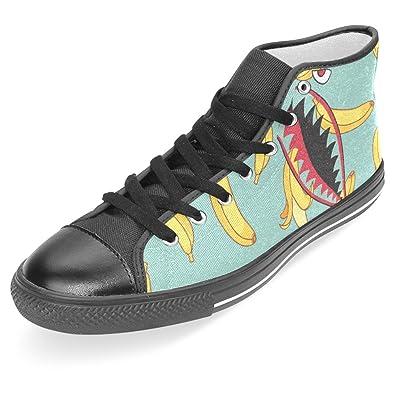 Womens Skateboarding Shoes Canvas Banana Pattern Blue Pattern Sport Sneaker