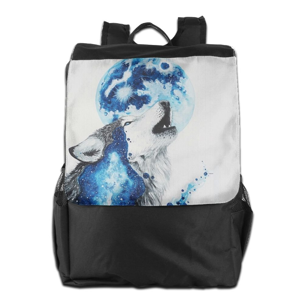 cab5b03609 80%OFF Watercolor Wolf Moon Convenient Lightweight Travel Hiking Backpack  Daypack
