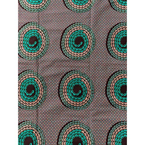 African Cotton Fabric Real Wax Green Pink Coffee Little Bead Design 6 Yards for Fashion Clothes Wear rw2117