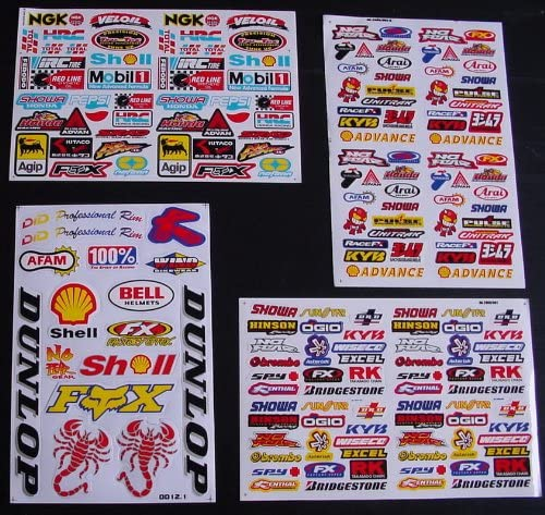 4 Blatt Selbstklebende Ausschneiden Aufkleber Bj Vinyl Motocross FÖrderung Mx Rc Gt Bmx Bike Scooter Auto