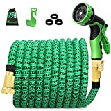 100ft Expandable Garden Hose, Water Hose with 3/4 inch Strong Solid Brass Connector, Expandable Hose with 9 Function Nozzle Flexible Expanding Lightweight Gardening Hose Outdoor Yard Hoses No-kink