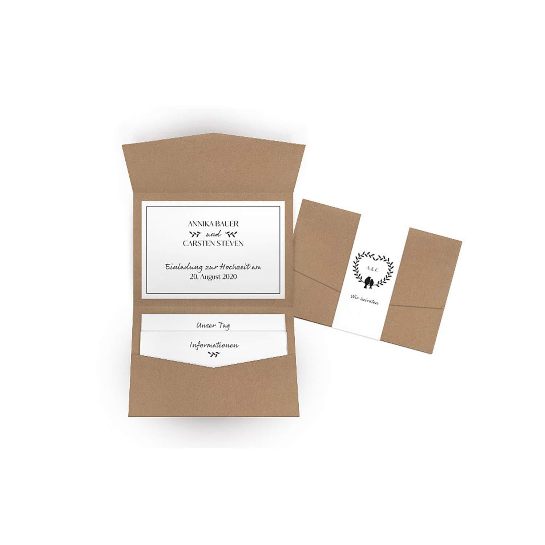 Hochwertige Einladungskarten zur Hochzeit im edlen Kraftpapier Look   Designs auswählbar   Hochzeitseinladungen mit Druck Ihrer eigenen Texte   100 Stück   Rustic Vintage   Moderne Hochzeitskarten B07NYZNMFZ | Vollständige Spezifikation  | Quee