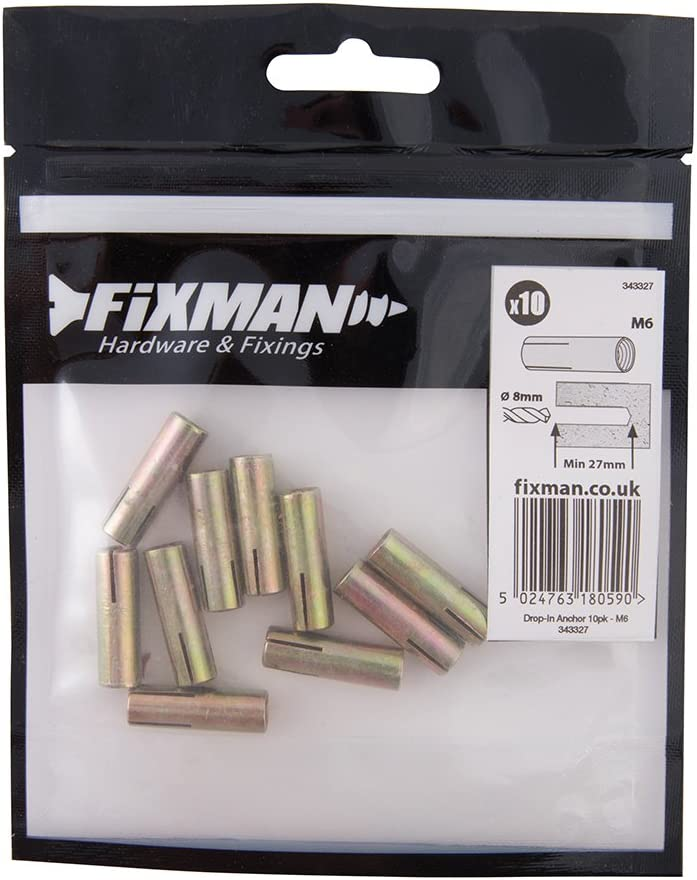 Fixman 343327 Drop-in Anchors 6mm Pack of 10