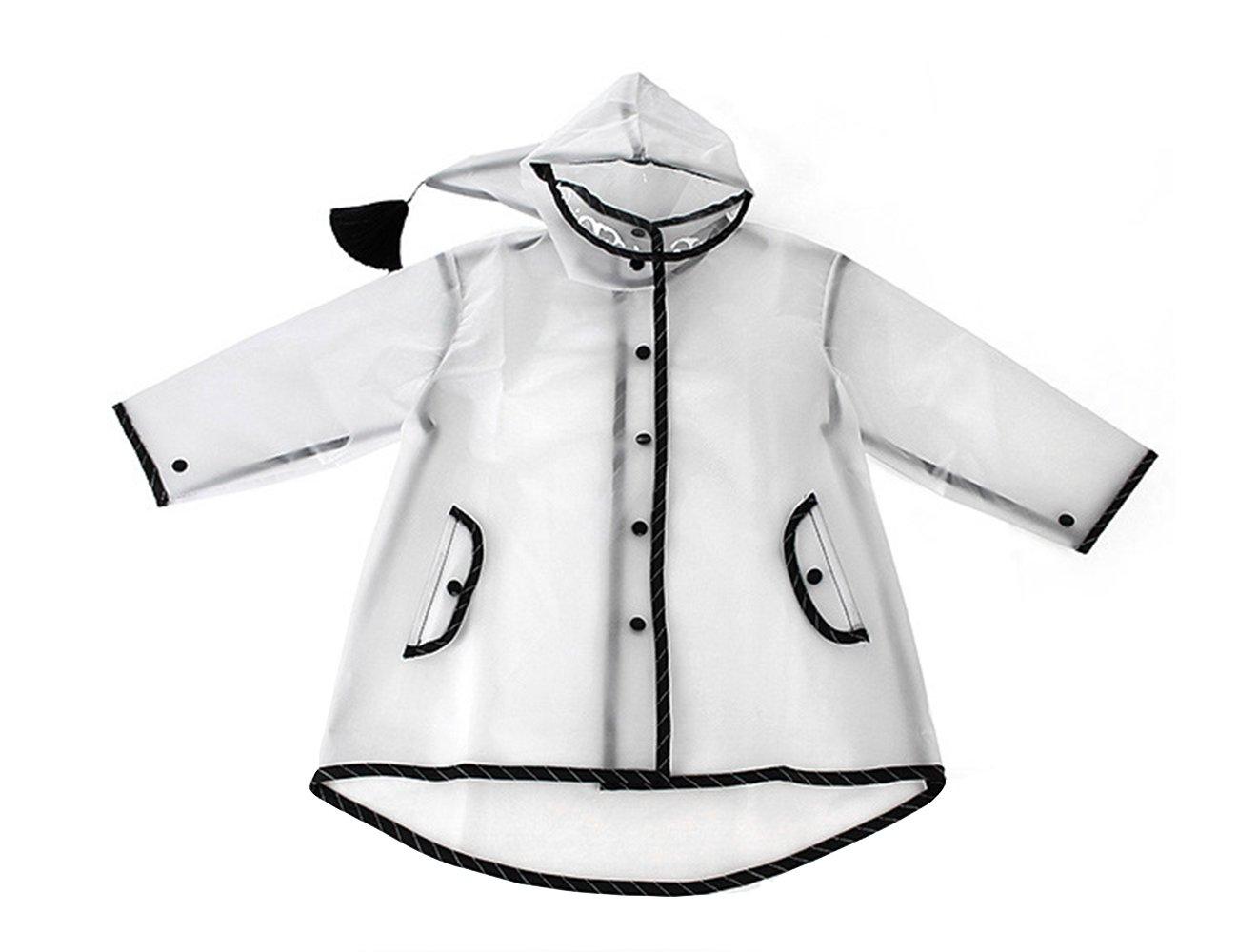ITSMN Kids Waterproof Hooded Rain Jacket Raincoat Lightweight Poncho Outdoor Clear Black 2XL (Age 11-15 Y)