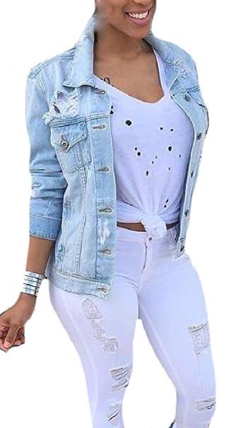 e468ac350ce4 AngelSpace Women Popular Oversize Classics Ripped-Holes Denim Jackets XL