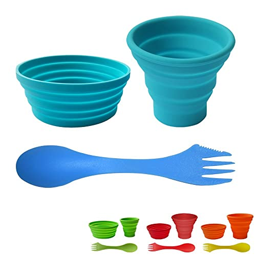 Ecoart Silicone Collapsible Cup and Bowl Set with Spork for Camping Hiking 100% Food-Grade FDA Approved BPA Free