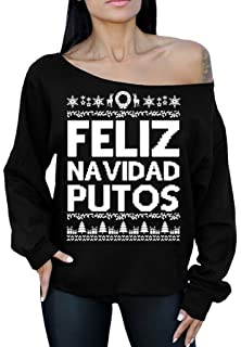 Awkward Styles Feliz Navidad Putos Sweater Off The Shoulder Slouchy Oversized Sweatshirt