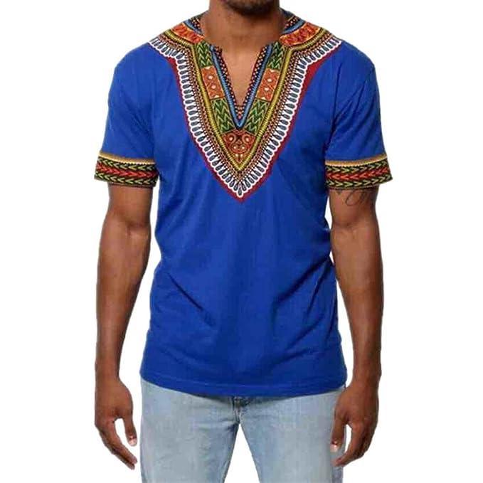 Camiseta para Hombre, ❤️Xinan Camiseta de Hombre de Moda Chaleco Slim Fit Blusa con Cuello EN V Camiseta con Estampado de Músculos Tops Casuales: ...