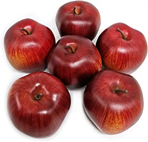 D-Seven Fake Apples Artificial Fruit 6pcs Faux Red Delicious Apple Real Looking Faux Apple for Home Shop Office Hotel Supermarket Props Staging Or Decoration