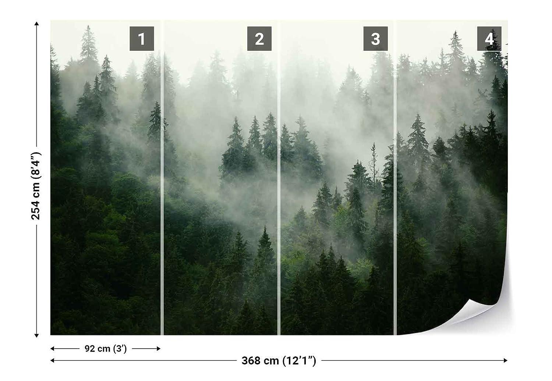 Vlies Fototapete Fototapete Fototapete Fotomural - Wandbild - Tapete - Wald Nebel Natur - Thema Wald und Bäume - XL - 368cm x 254cm (BxH) - 4 Teilig - Gedrückt auf 130gsm Vlies - FW-1116V8 B076KV357G Wandtattoos & Wandbilder 57de4f