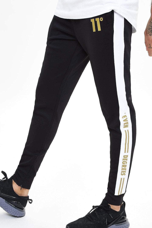 11 Degrees Pantalon Deportivo Chándal Negro Skinny (S): Amazon.es ...