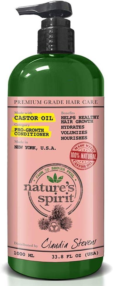 Acondicionador de aceite de ricino Natures Spirit, acondicionador profundo pro-Growth, para hidratar, voluminizar, hidratar y nutrir el cabello, promueve un crecimiento saludable del cabello 1 l: Amazon.es: Belleza