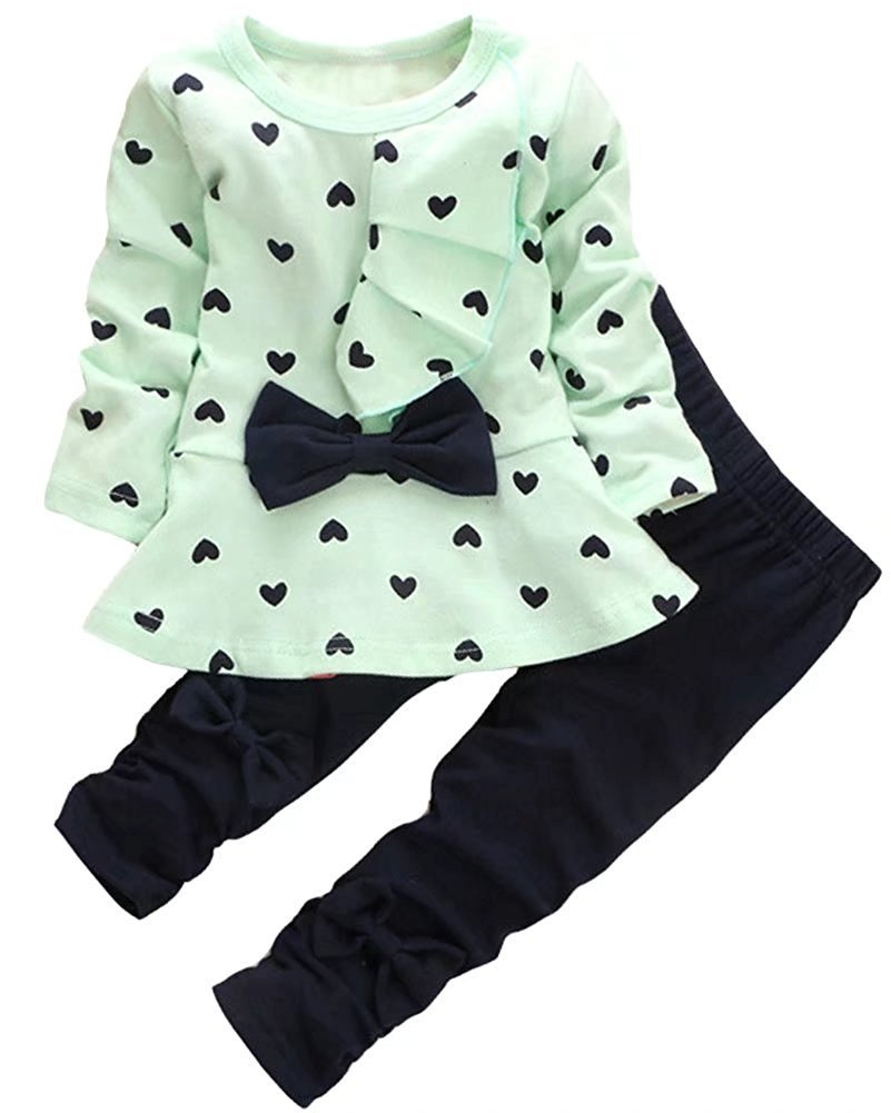Baby Girl Clothes Infant Outfits Set 2 Pieces with Long Sleeved Tops + Pants (Green, 18-24 Months)