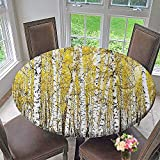 """Mikihome Round Fitted Tablecloth Birch ations for Bedroom Gen Leaves Woodland October Seasonal for All Occasions 63""""-67"""" Round (Elastic Edge)"""