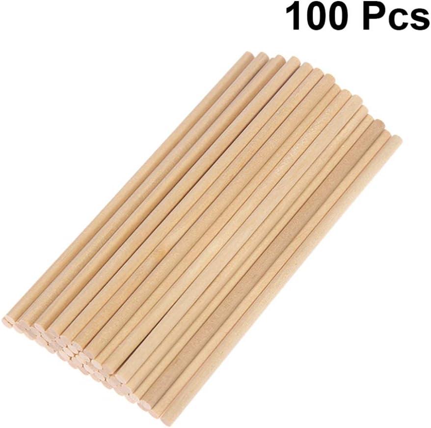 NUOBESTY Holzd/übelstangen 100Stk 10 X 0 5Cm Bambus Bastelstangen Naturbelassen Unvollendete Holzd/übelstangen P/ädagogisch Witzig Einfach Rundd/übelstangen DIY Geb/äudemodell Bastelstangen
