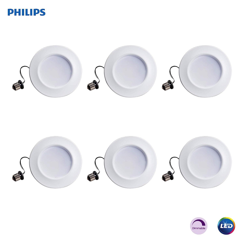 "Philips LED myLiving Dimmable 5""/6"" Downlight Recessed Lighting Fixture: 650-Lumens, 2700-Kelvin, 11-Watt (65-Watt Equivalent), E26 Medium Screw Base, Soft White, 6-Pack"