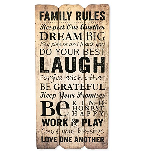 P. Graham Dunn Family Rules Small 12x6 Fence Post Art Decorative Wall Plaque ()