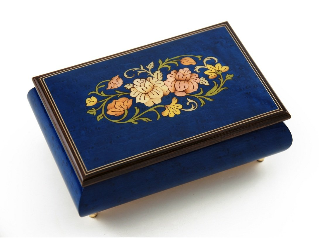Remarkable 30 Note Dark Blue Floral Theme Wood Inlay Musical Jewelry Box - Love is Blue