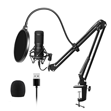 USB Streaming Podcast PC Microphone, SUDOTACK professional 96KHZ/24Bit  Studio Cardioid Condenser Mic Kit with sound card Boom Arm Shock Mount Pop